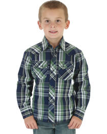 Wrangler Boys' Plaid Long Sleeve Shirt, , hi-res