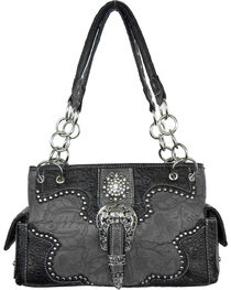 Savana Women's Grey Concealed Carry with Tooled Design Handbag, , hi-res