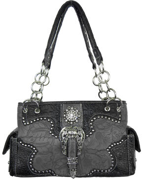 Savana Women's Grey Concealed Carry with Tooled Design Handbag, Bronze, hi-res