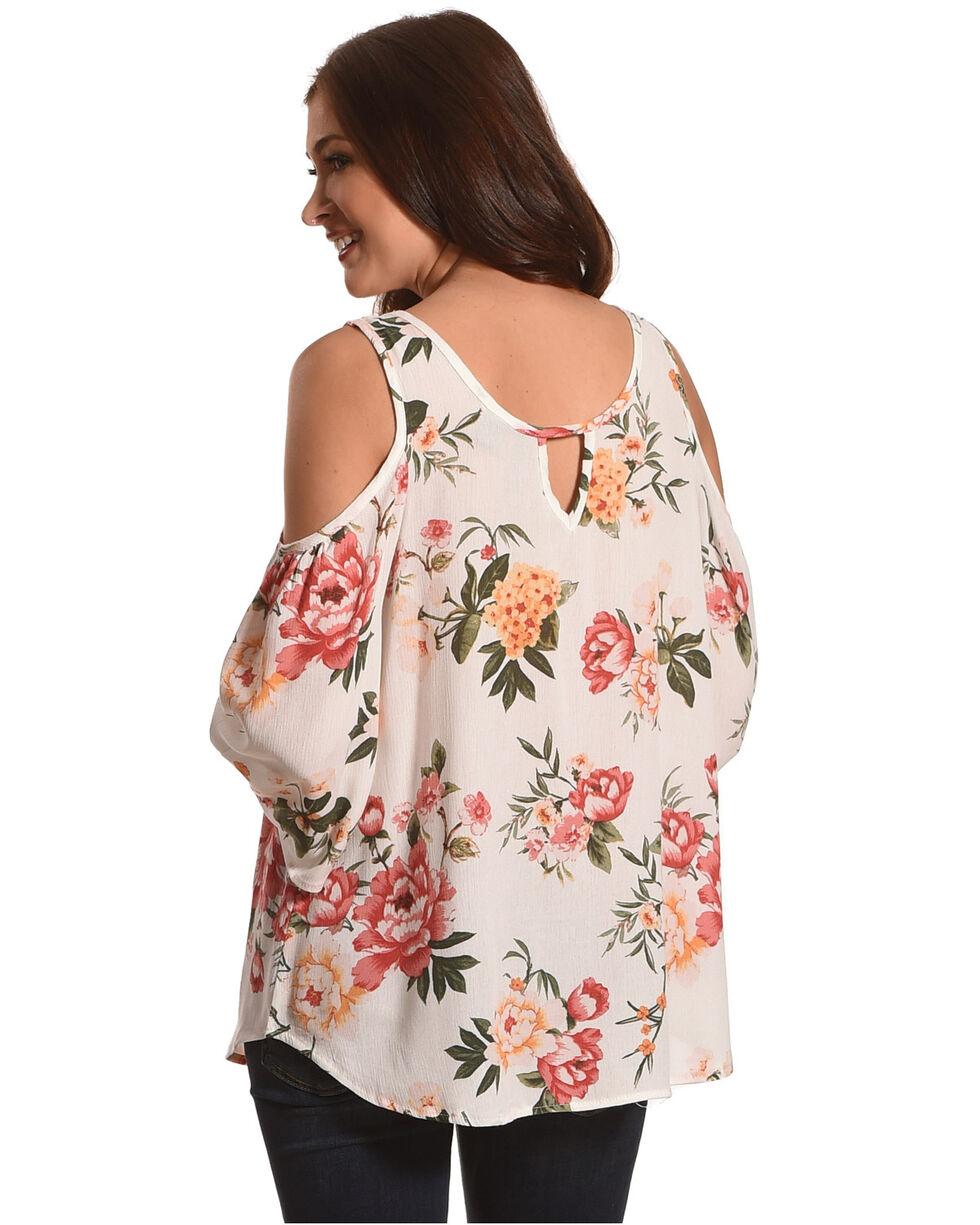 Ivory Love Women's Ivory Floral Printed Cold Shoulder Top , Ivory, hi-res