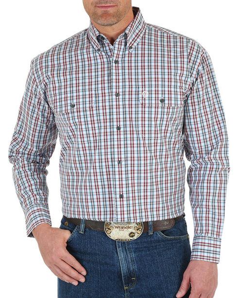 George Strait by Wrangler Plaid Long Sleeve Shirt, White, hi-res