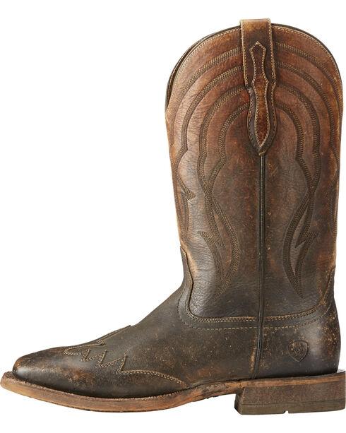 Ariat Men's Far West Naturally Distressed Cowboy Boots - Square Toe, Brown, hi-res