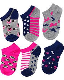 Ladeda Girls' Puppy No Show Socks, , hi-res
