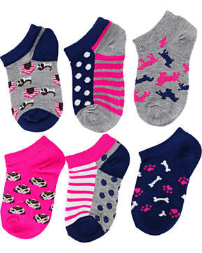 Ladeda Girls' Puppy No Show Socks, Multi, hi-res