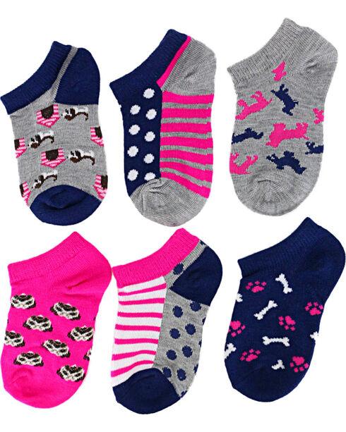 Ladeda Girls' Puppy No Show Socks, Multi, hi-res