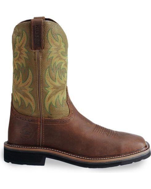 Justin Men's Stampede Western Work Boot, Waxed Brn, hi-res