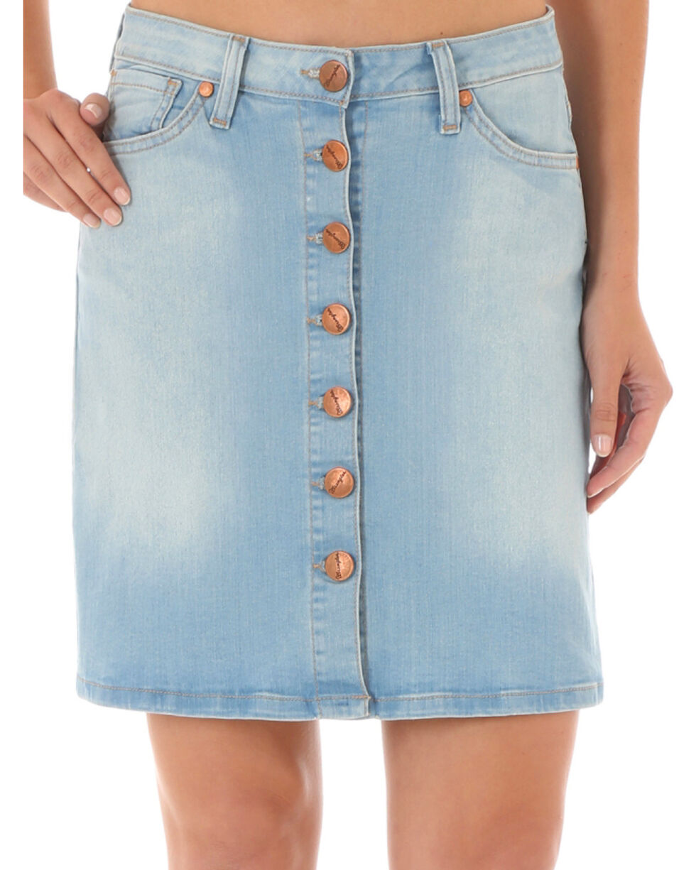 Wrangler Women's Button-Front Denim Skirt, Indigo, hi-res