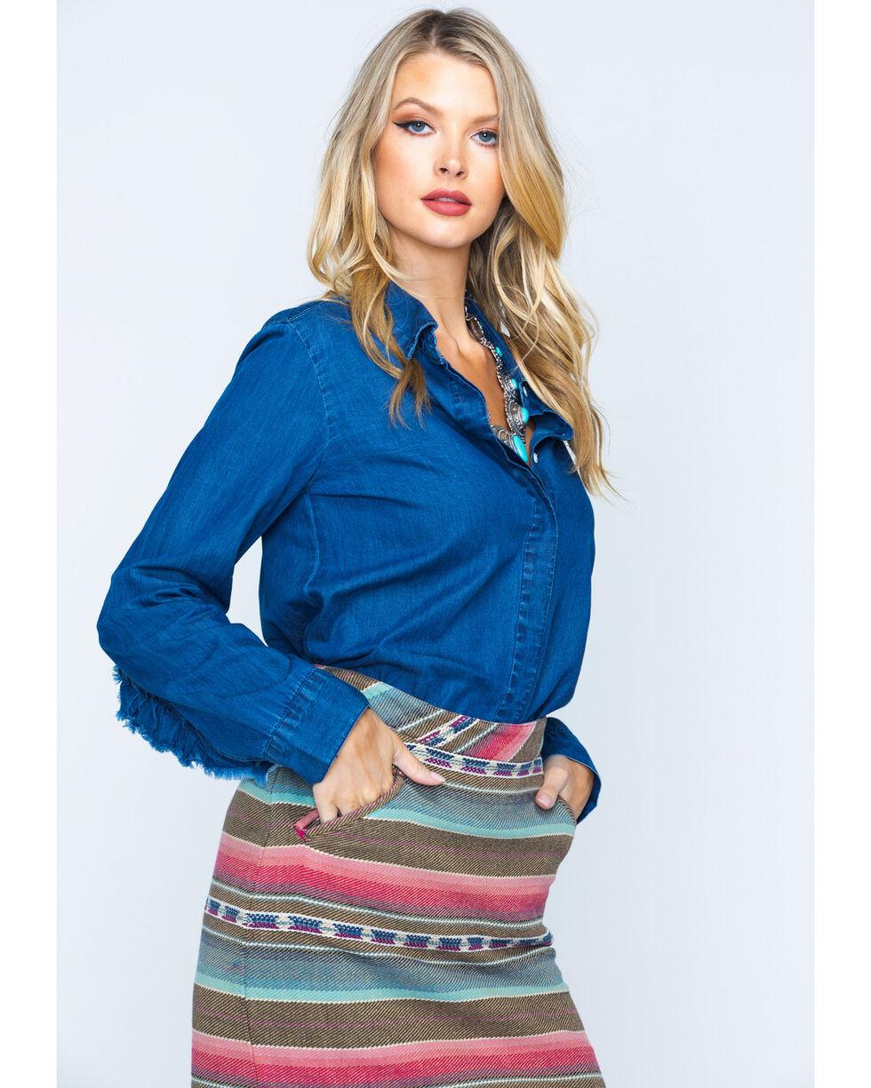New Direction Women's Ruffle Detail Denim Shirt, Indigo, hi-res