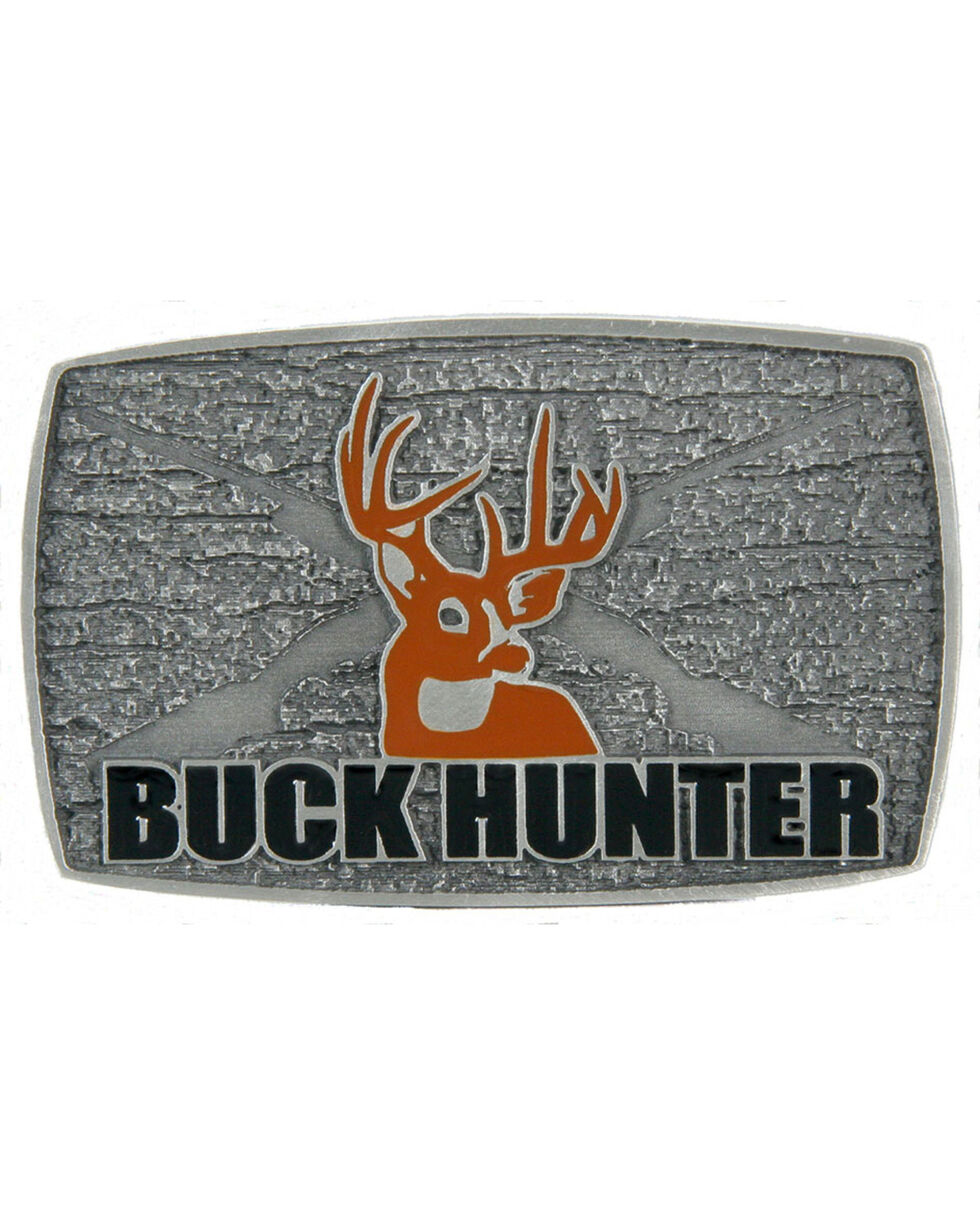 Western Express Men's Silver Buck Hunter Belt Buckle , Silver, hi-res