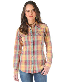 Wrangler Women's Camel Plaid Western Shirt , , hi-res