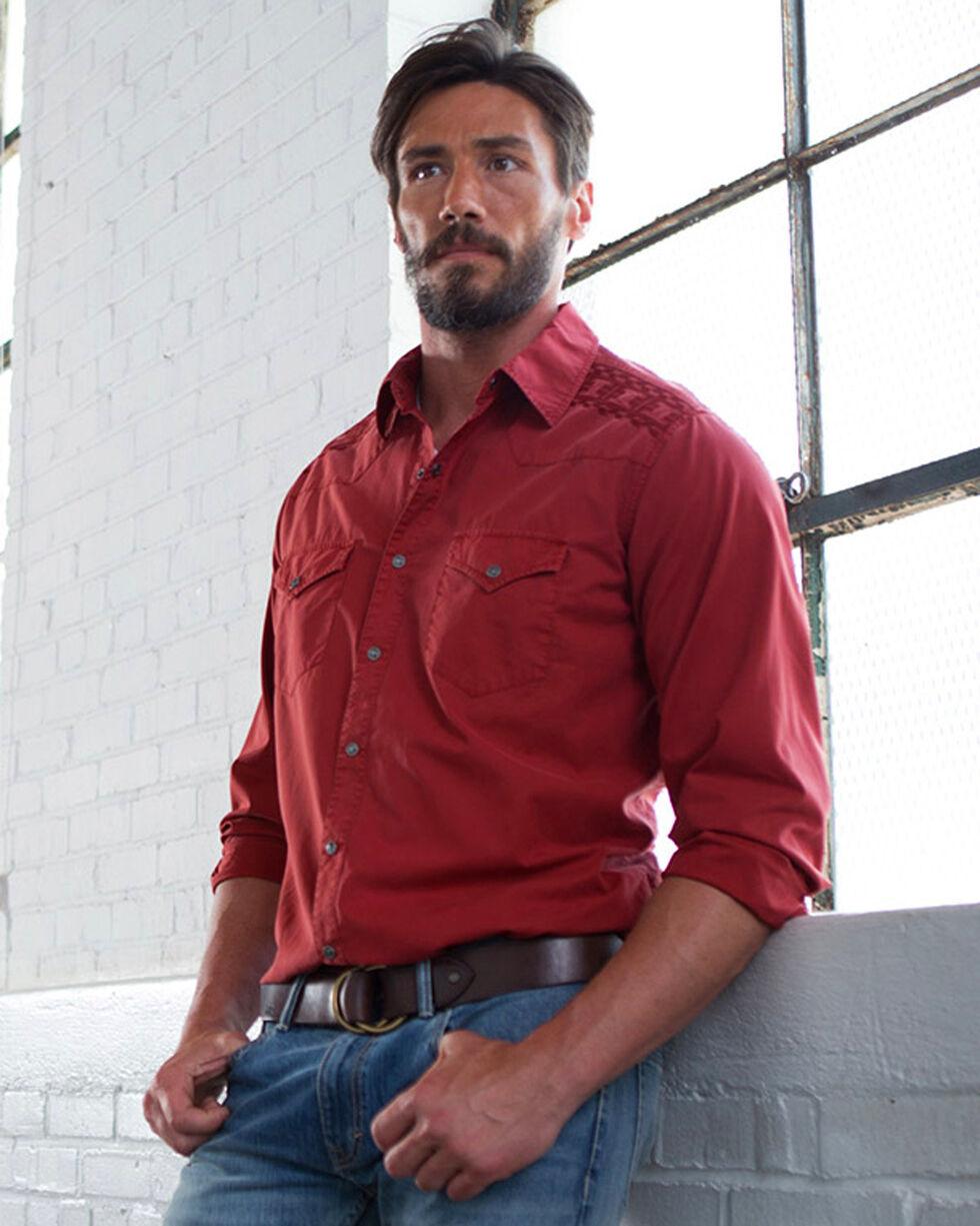 Ryan Michael Men's Brick Embroidered Yoke Tencel Shirt, Red, hi-res