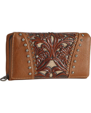 Shyanne Women's Brown Leather Laser Cutout Zip-Around Wallet , Brown, hi-res