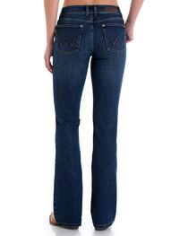 Wrangler Women's Medium Blue Retro Mae Leather Trim Mid-Rise Jeans - Boot Cut , , hi-res