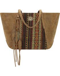 American West Bandana Women's Brown Serape Zip Top Tote , , hi-res
