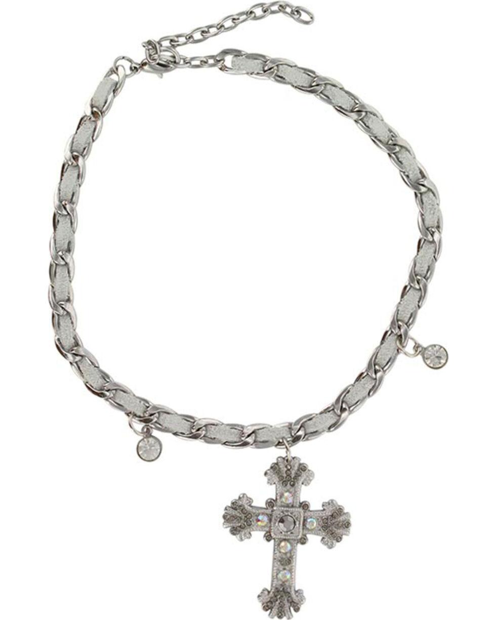 Shyanne® Women's Silver Cross Boot Bracelet, Silver, hi-res