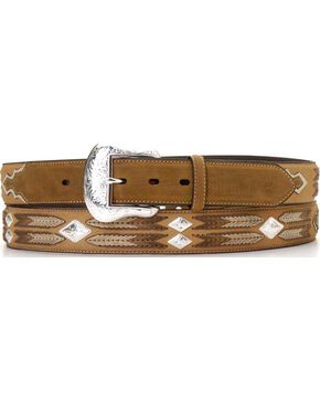 Leather Overlay String Lacing Diamond Concho Belt, Med Brown, hi-res