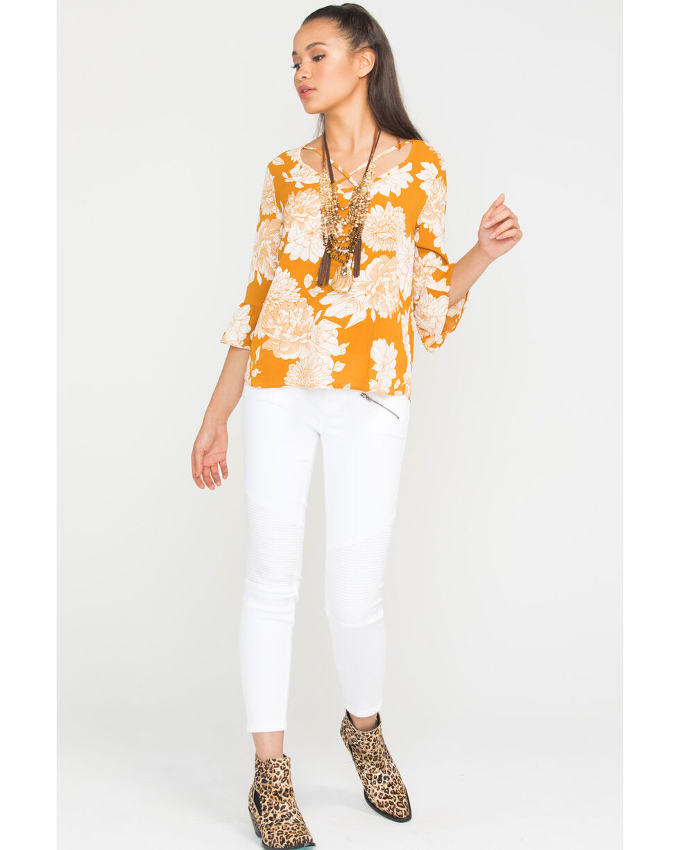 Wrangler Women's Floral Crisscross Long Sleeve Shirt, Dark Yellow, hi-res