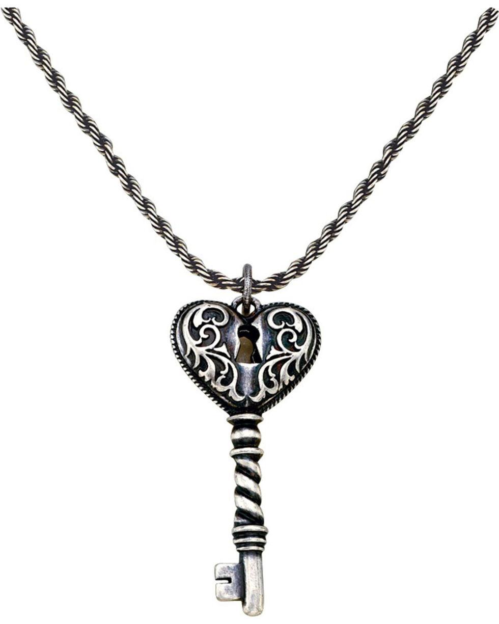 Montana Silversmith Women's Heart Key Necklace, Silver, hi-res