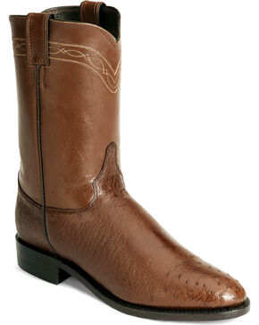 Justin Men's Smooth Ostrich Roper Western Boots, Brown, hi-res