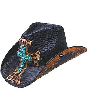 Peter Grimm Zeke Leopard Print Cross Black Straw Cowgirl Hat, Black, hi-res