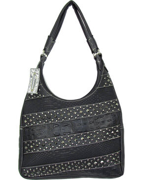Savana Women's Fierce Conceal Carry Snake and Stud Handbag , Black, hi-res