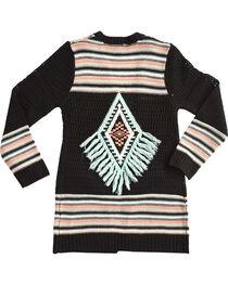 Derek Heart Girls' Long Sleeve Tribal Striped Cardigan, , hi-res
