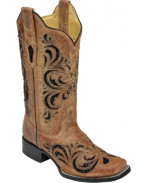 Corral Women's Distressed Sequin Studded Western Boots, Cognac, hi-res