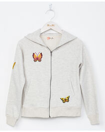 Miss Me Girls' Light Grey Butterfly Embroidered Full Zip Hoodie , , hi-res