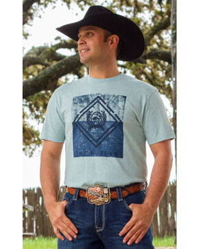 Cinch Men's Printed Short Sleeve T-Shirt, Light Blue, hi-res