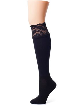 Darby's Lacie Black Knee-High Boot Socks, Black, hi-res