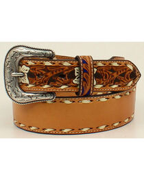 Nocona Men's Leather Laced Edges Belt , , hi-res