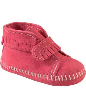 Minnetonka Infant Girls' Fringe with Velcro Strap Bootie, Hot Pink, hi-res