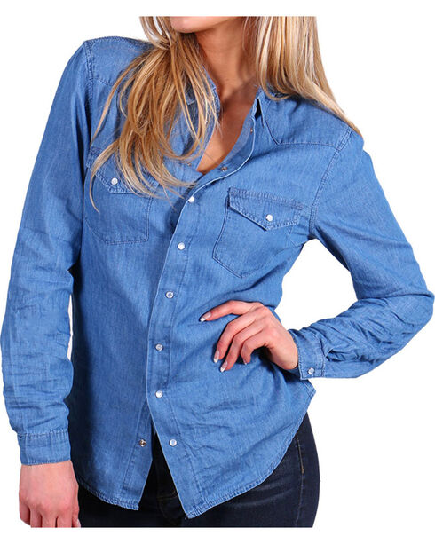 Angel + Premium Women's Chambray Shirt, Medium Blue, hi-res