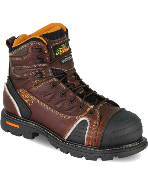 """Thorogood Men's GenFlex2 6"""" Lace To Toe Work Boots - Composite Toe, Brown, hi-res"""