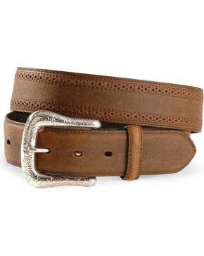 Ariat Men's Perforated Edge Western Belt, Distressed, hi-res