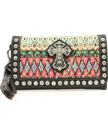Blazin' Roxx Women's Abstract Print Cross Wallet, , hi-res