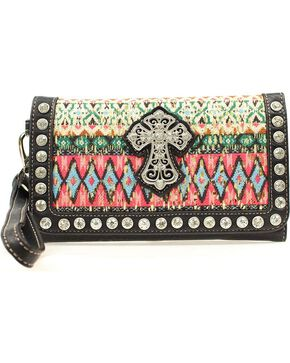 Blazin' Roxx Women's Abstract Print Cross Wallet, Multi, hi-res