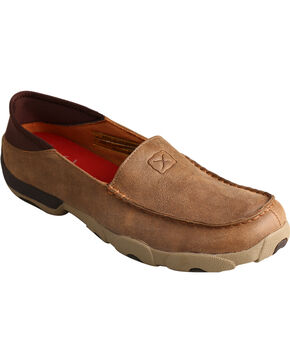 Twisted X Men's Slip On Driving Moc Casual Shoes, Brown, hi-res