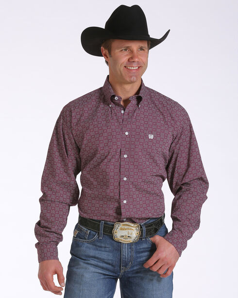 Cinch Men's Basket Weave Patterned Long Sleeve Shirt, Burgundy, hi-res