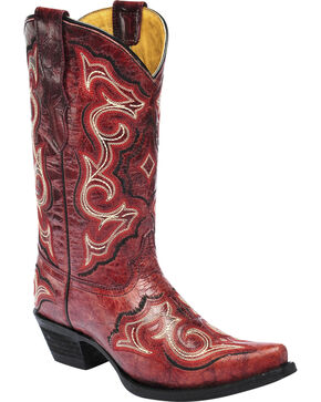 Corral Girls' Embroidered Red Cowgirl Boots - Snip Toe, Red, hi-res