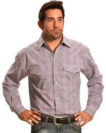 Crazy Cowboy Purple Mini-Plaid Western Snap Shirt, , hi-res