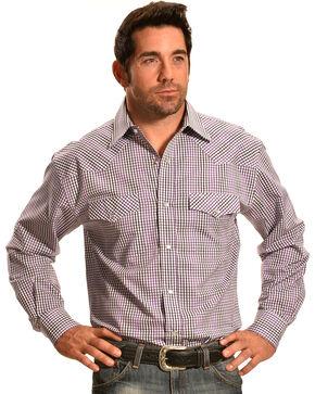 Crazy Cowboy Purple Mini-Plaid Western Snap Shirt, Blue, hi-res