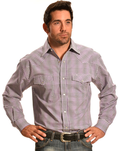 Crazy Cowboy Purple Mini-Plaid Western Snap Shirt, Blue, hi-res
