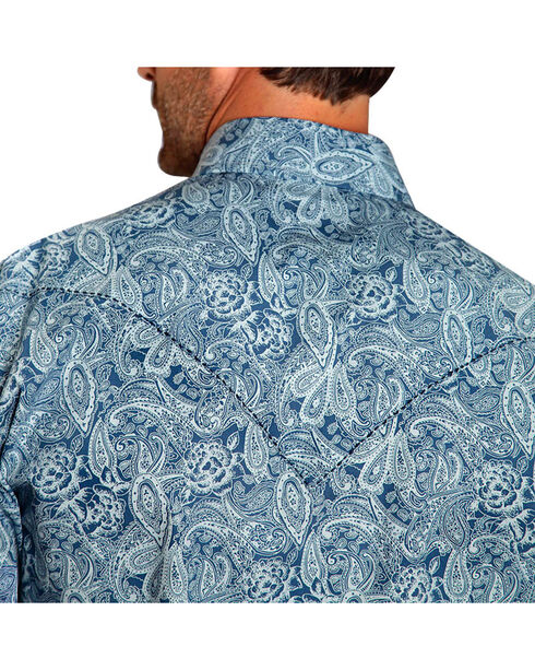 Stetson Men's Paisley Floral Long Sleeve Shirt, Navy, hi-res
