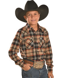 Ely Cattleman Boys' Brown Plaid Flannel Western Snap Shirt, , hi-res