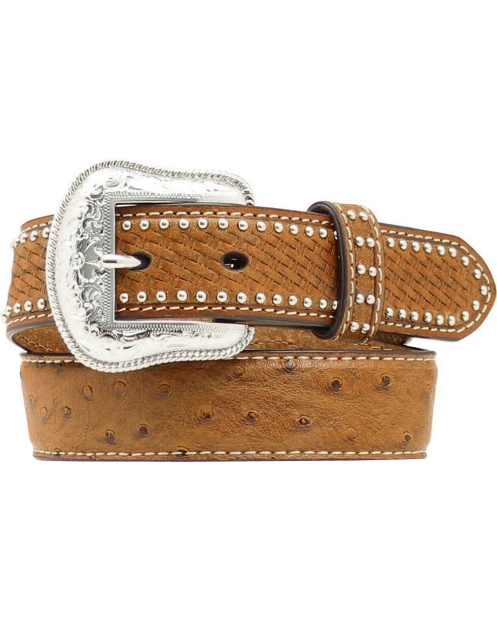 Nocona Kids' Basketweave & Ostrich Print Studded Leather Belt, Brown, hi-res