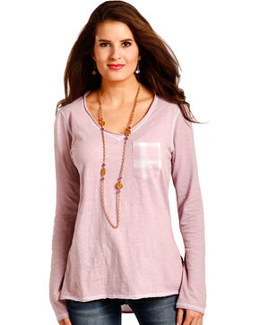 Panhandle Women's Pink Plaid Back Tunic , Pink, hi-res