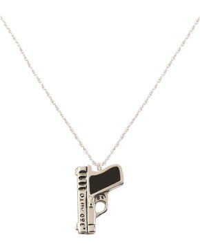 "Silver Legends Women's Black Resin 380 Auto Pistol Necklace 18"" , Black, hi-res"