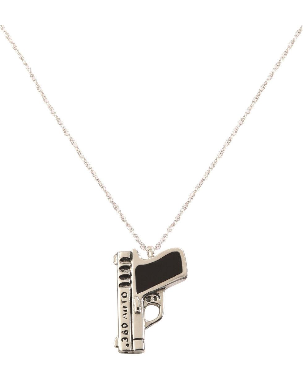 """Silver Legends Women's Black Resin 380 Auto Pistol Necklace 18"""" , Black, hi-res"""
