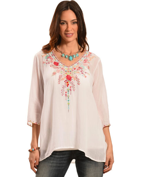 Johnny Was Women's Swan Blouse, White, hi-res